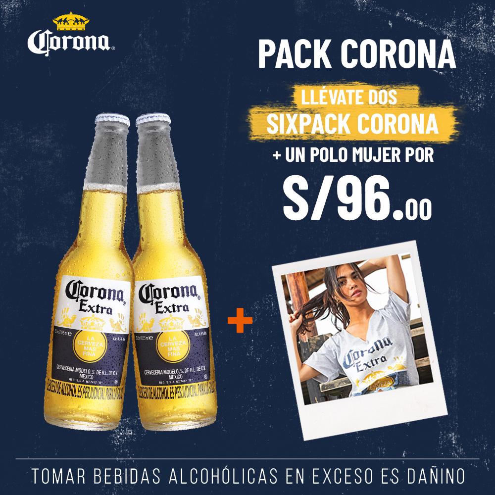 2 SIX PACK CORONA + POLO DE MUJER